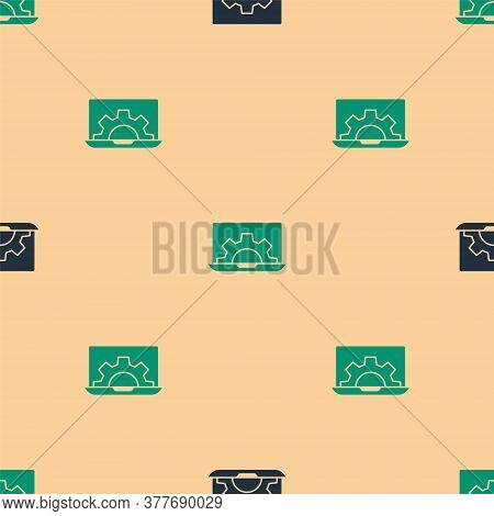 Green And Black Laptop And Gear Icon Isolated Seamless Pattern On Beige Background. Adjusting App, S