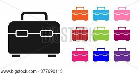 Black Toolbox Icon Isolated On White Background. Tool Box Sign. Set Icons Colorful. Vector Illustrat
