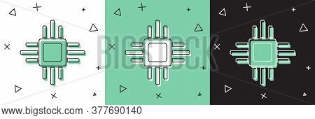 Set Computer Processor With Microcircuits Cpu Icon Isolated On White And Green, Black Background. Ch