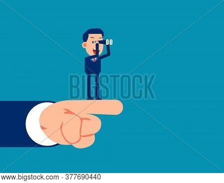 Businessman With Telescope Searching For Opportunities And Hand Pointing Direction