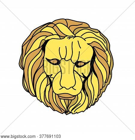 Golden Lion. Symbol Of The Seven Kingdoms. Head Of A Golden Lion On A White Background.