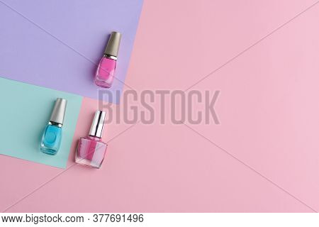 Set Of Nail Varnishes. Vivid Blue, Pink And Dark Pink