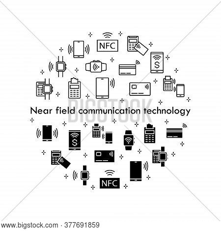 Nfc Payment Icons. Contactless Wireless Pay Sign Logo. Vector Sign Of Smartphone And Card Nfc Paying