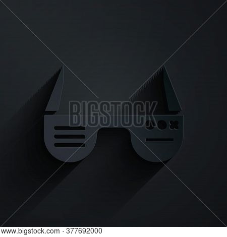 Paper Cut Smart Glasses Mounted On Spectacles Icon Isolated On Black Background. Wearable Electronic