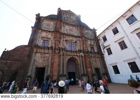 OLD GOA, INDIA - FEBRUARY 18, 2020: Basilica of Bom Jesus, Old Goa, Velha Goa, Goa, India