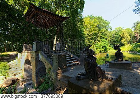 Bila Tserkva, Ukraine-july 18,2020:wide Angle View Of Famous Chinese Bridge With Sculptures Of Chine