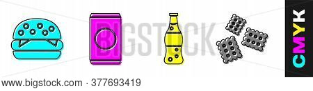 Set Burger, Soda Can With Straw, Bottle Of Water And Cracker Biscuit Icon. Vector