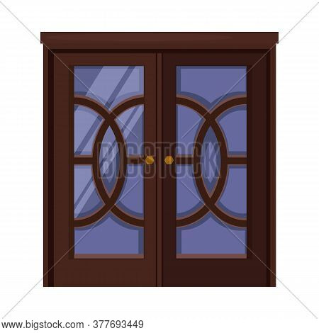 Entrance. Dark Wooden Double Door With Glass And Knobs. Illustration Can Be Used For Topics Like Doo