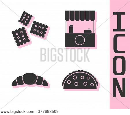 Set Taco With Tortilla, Cracker Biscuit, Croissant And Street Stall With Awning Icon. Vector