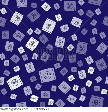 White Hard Bread Chucks Crackers Icon Isolated Seamless Pattern On Blue Background. Vector Illustrat
