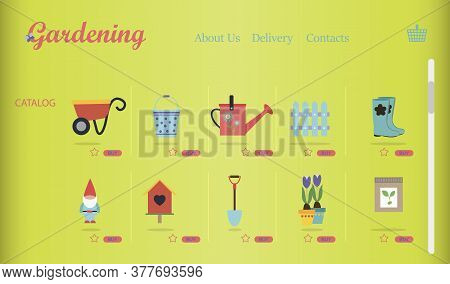 An Online Store Of Gardening And Garden Equipment. Flat Illustration Of The Site With Products And T