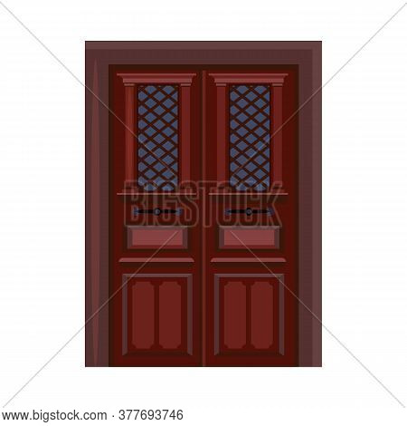 House Door. Wooden Door, Glass, Entrance. Illustration Can Be Used For Topics Like Doorway, Home, Ap