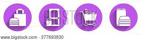 Set Online Ordering Burger Delivery, Online Ordering And Delivery, Shopping Cart And Food And Online