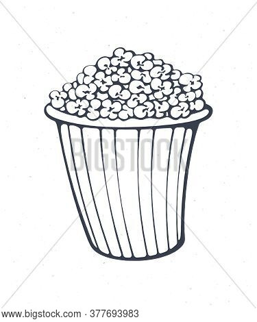 Cartoon Bucket Full Of Popcorn. Outline. Striped Paper Cup With Junk Snack. Symbol Of The Film Indus