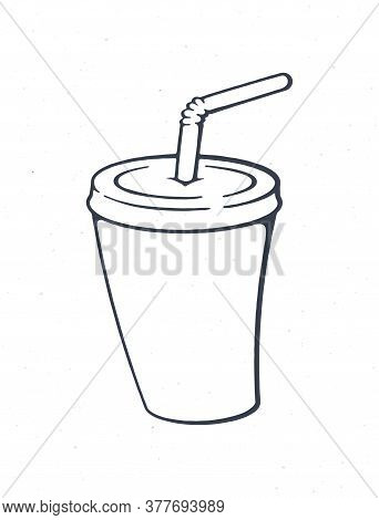 Disposable Paper Cup With Soda And Straw. Outline. Cartoon Glass With Carbonated Cold Drink. Film In