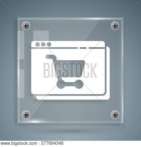 White Online Shopping On Screen Icon Isolated On Grey Background. Concept E-commerce, E-business, On