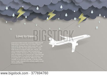 Love To Travel Airplane Flying With Rain Thunder Lightning Storm Air Transportation Concept Copy Spa