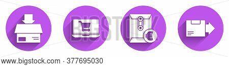 Set Carton Cardboard Box, Shopping Cart On Laptop, Envelope With Euro Symbol And Carton Cardboard Bo