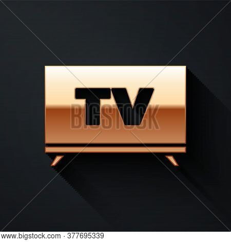 Gold Smart Tv Icon Isolated On Black Background. Television Sign. Long Shadow Style. Vector Illustra