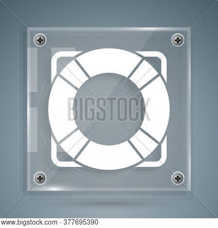 White Lifebuoy Icon Isolated On Grey Background. Lifebelt Symbol. Square Glass Panels. Vector Illust