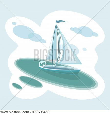 Sailboat. Sea Travel Around The World, Yacht Racing. Sailboat Side View With Shadow