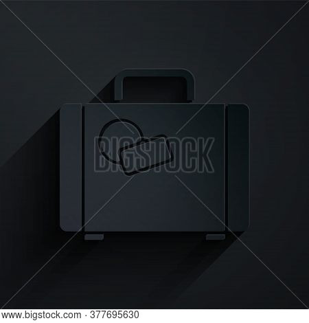 Paper Cut Suitcase For Travel Icon Isolated On Black Background. Traveling Baggage Sign. Travel Lugg