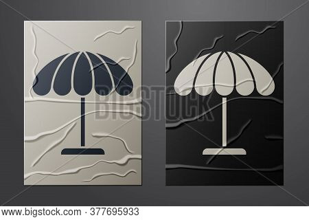 White Sun Protective Umbrella For Beach Icon Isolated On Crumpled Paper Background. Large Parasol Fo
