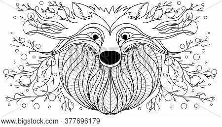 Design Drawing Wolf. Fairy Figure. Fantastic Drawing Wolf. Drawing A Line  Wolf