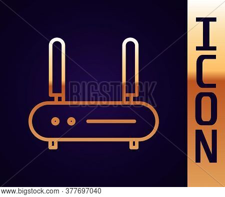 Gold Line Router And Wi-fi Signal Icon Isolated On Black Background. Wireless Ethernet Modem Router.