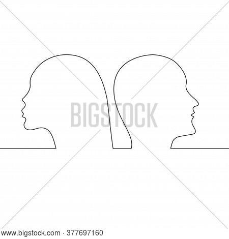 Divorce Or Quarrel In Couple, Continuous Line Profiles Of Men And Women