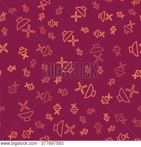 Brown Line Speaker Mute Icon Isolated Seamless Pattern On Red Background. No Sound Icon. Volume Off