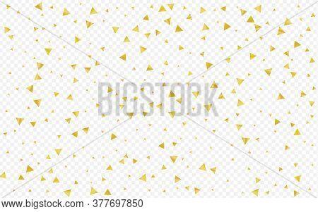 Golden Triangle Light Transparent Background. Festive Shards Postcard. Yellow Sparkle Christmas Illu