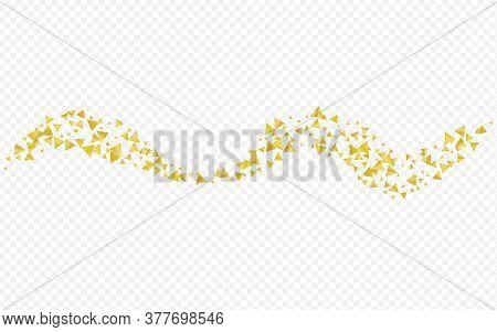 Golden Rain Festive Transparent Background. Isolated Triangle Backdrop. Gold Shard Shiny Wallpaper.
