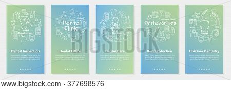 Vertical Five Banners With Line Concept Of Dentistry - Dental Inspection And Children Dentistry