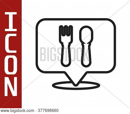 Black Line Cafe And Restaurant Location Icon Isolated On White Background. Fork And Spoon Eatery Sig