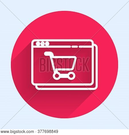 White Line Online Shopping On Screen Icon Isolated With Long Shadow. Concept E-commerce, E-business,