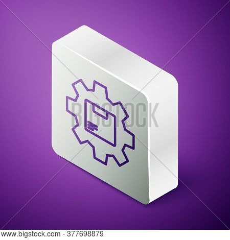 Isometric Line Gear Wheel With Package Box Icon Isolated On Purple Background. Box, Package, Parcel