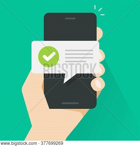 Push Notice Notification Message On Mobile Phone Person, Smartphone Cellphone Sms Speech Bubble With