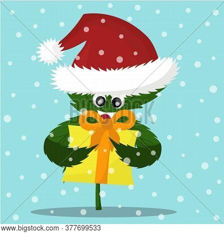 Vector Illustration Of Cartoon Christmas Cannabis. Cannabis Emotions
