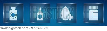 Set Bottle Of Medicine Syrup, Bottle Nasal Spray, Donate Drop Blood With Cross And Medicine Bottle.