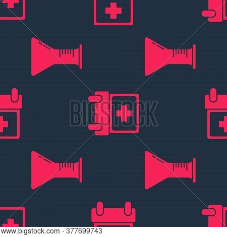 Set Test Tube And Flask And Doctor Appointment On Seamless Pattern. Vector