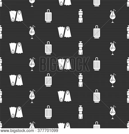 Set Bottle Of Water, Cocktail And Alcohol Drink, Rubber Flippers And Suitcase On Seamless Pattern. V
