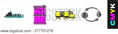 Set Oil Tanker Ship, Barrel Oil Leak, Tanker Truck And Oil Exchange Icon. Vector