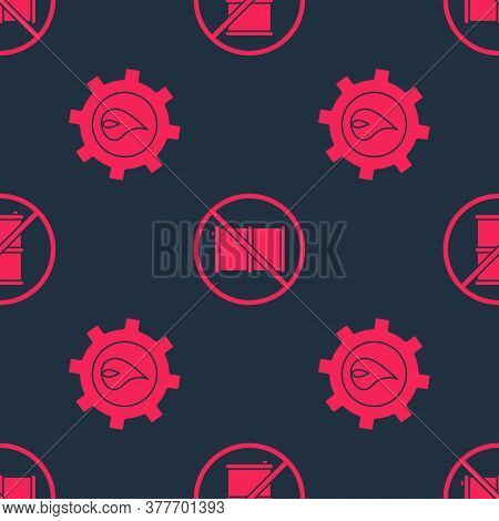 Set Oil Industrial Factory Building And No Barrel For Gasoline On Seamless Pattern. Vector