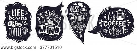 Speech Bubbles Lettering Emblems. Coffee Lettering Speech Bubbles Emblems Collection. Hand Drawn In