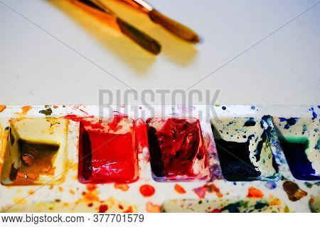 Watercolour Palette And Brushes With Copyspace. Vibrant Colours Used On The Palette. Shot At Howrah,