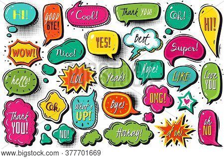 Comics Speech Bubbles Set. Comic Speech Bubbles Set. Vector Doodles Illustration. Doodle Style Color