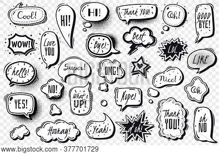 Comics Speech Bubbles Transparent Set. Comic Speech Bubbles Set. Vector Doodles Illustration On A Tr