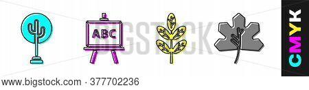 Set Tree, Chalkboard, Leaf Or Leaves And Leaf Or Leaves Icon. Vector