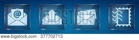 Set Mail And E-mail, Upload Inbox, Envelope And Postal Stamp. Square Glass Panels. Vector
